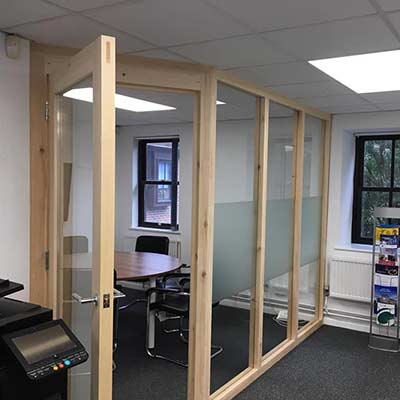 Timber and glass office partitions